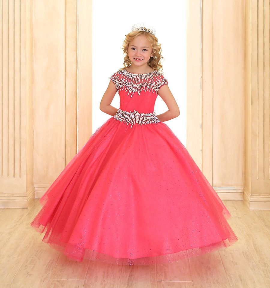 Girls cap sleeve organza dress with beaded neckline neckline cap