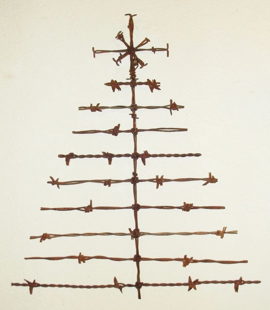 Barbed Wire Christmas Tree Holiday Rustic Door Art Wall Decor Sculpture I Thought This Would Be A Cool Way To Displ Barbed Wire Art Wire Art Barb Wire Crafts