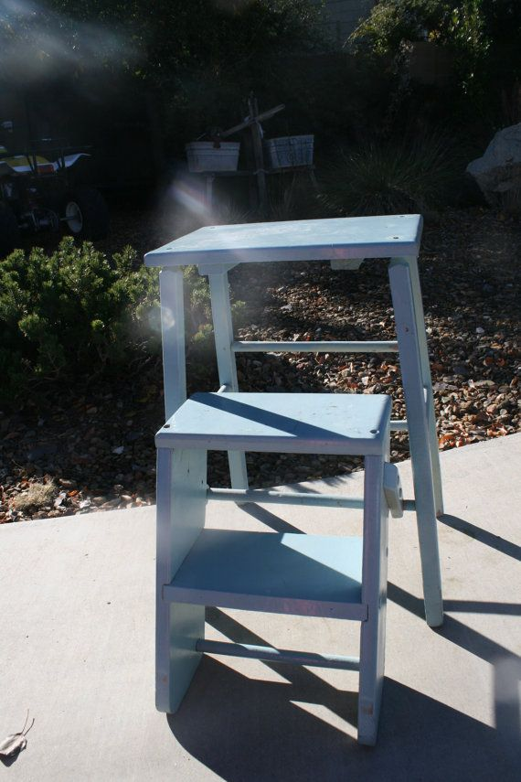 Antique Wood Folding Step Ladder Stool Blue How To
