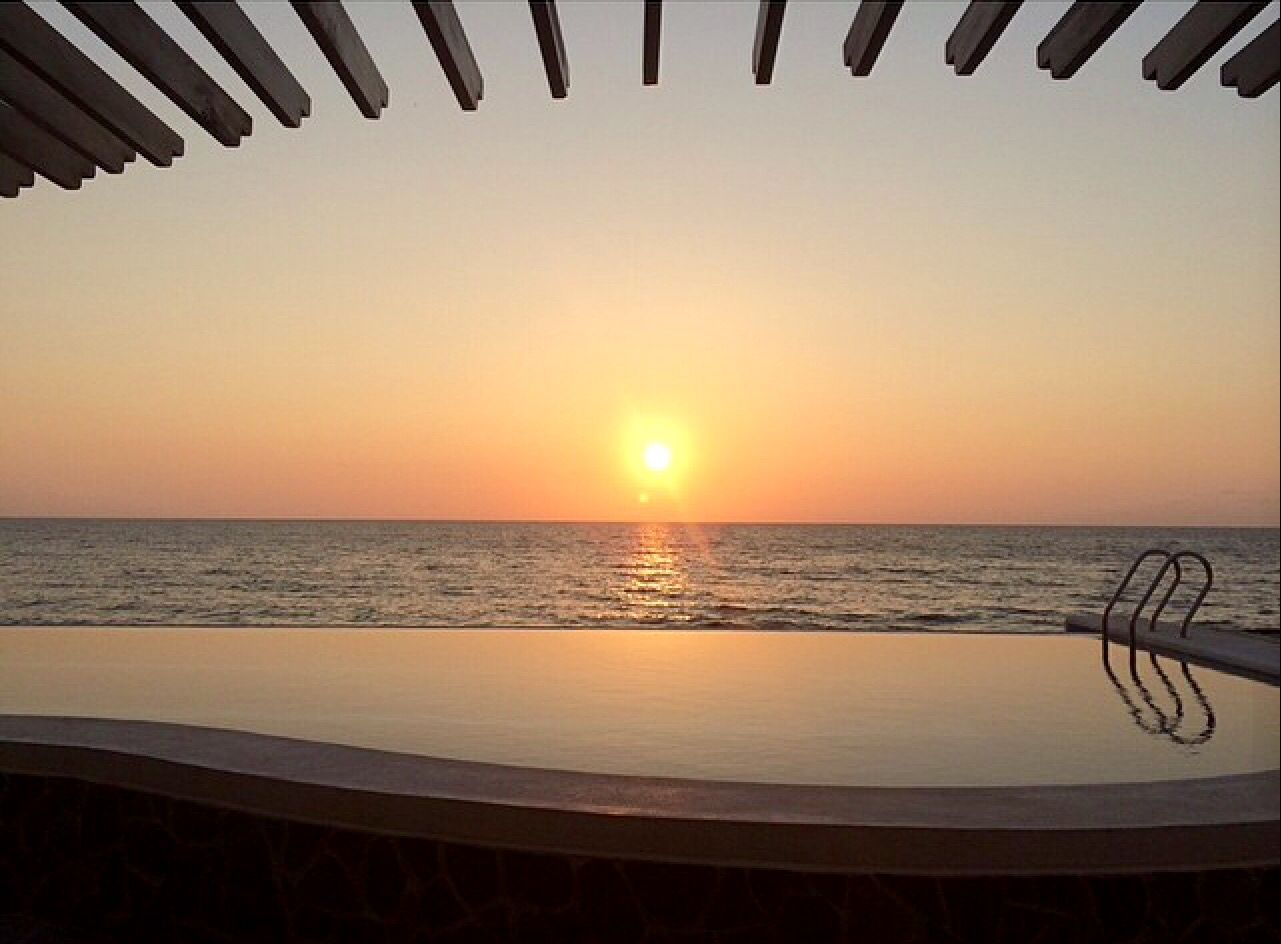 Sunset Over The Infinity Pool White House Bauang La Union