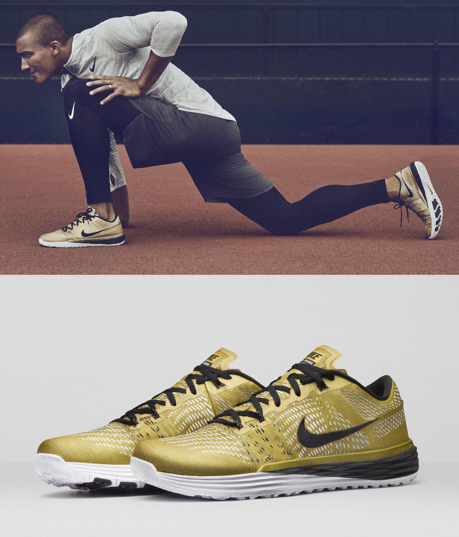 sports shoes 63680 d3a60 Gold Nike Lunar Caldra for Ashton Eaton