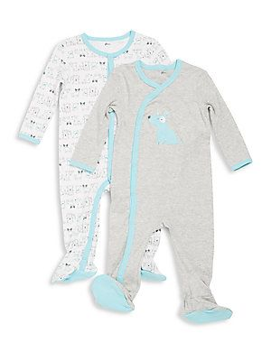 Petit Lem Baby's Heathered Cotton Footie Set - Puppy - Size 3 Months