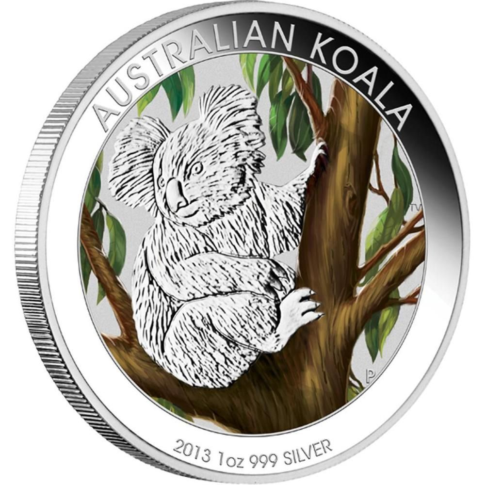 Buy The Australian Koala 2013 1oz Silver Coloured Coin In Card At The Perth Mint Featuring Australian Koala 2013 1oz Silver Coloure Koala Coins For Sale Coins