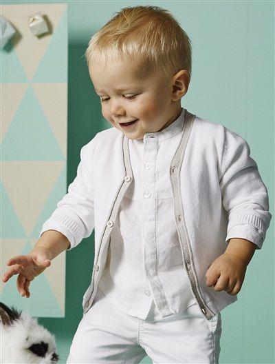 556573947cdd Cardigan tricot col V bébé garçon BLANC+JEAN GRISE - vertbaudet enfant