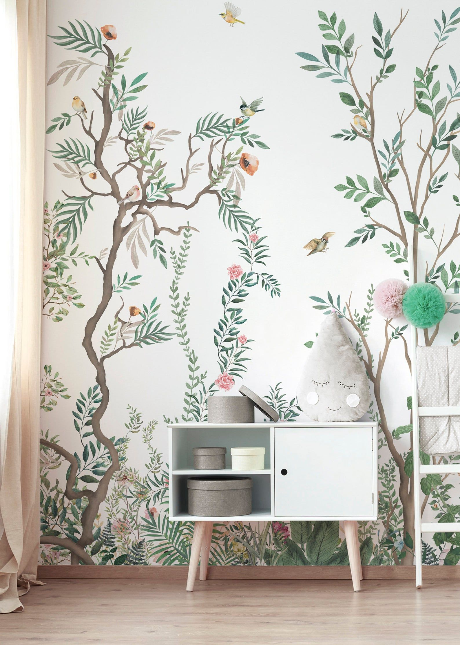 Seamless Chinoiserie Repeated Pattern Wallpaper, Removable