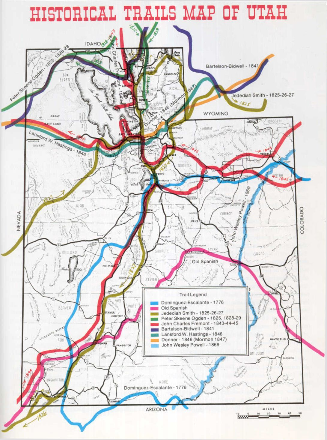 Marysvale Utah Map.Historical Trails Map Of Utah Trail Maps Trail Maps Utah Utah Map