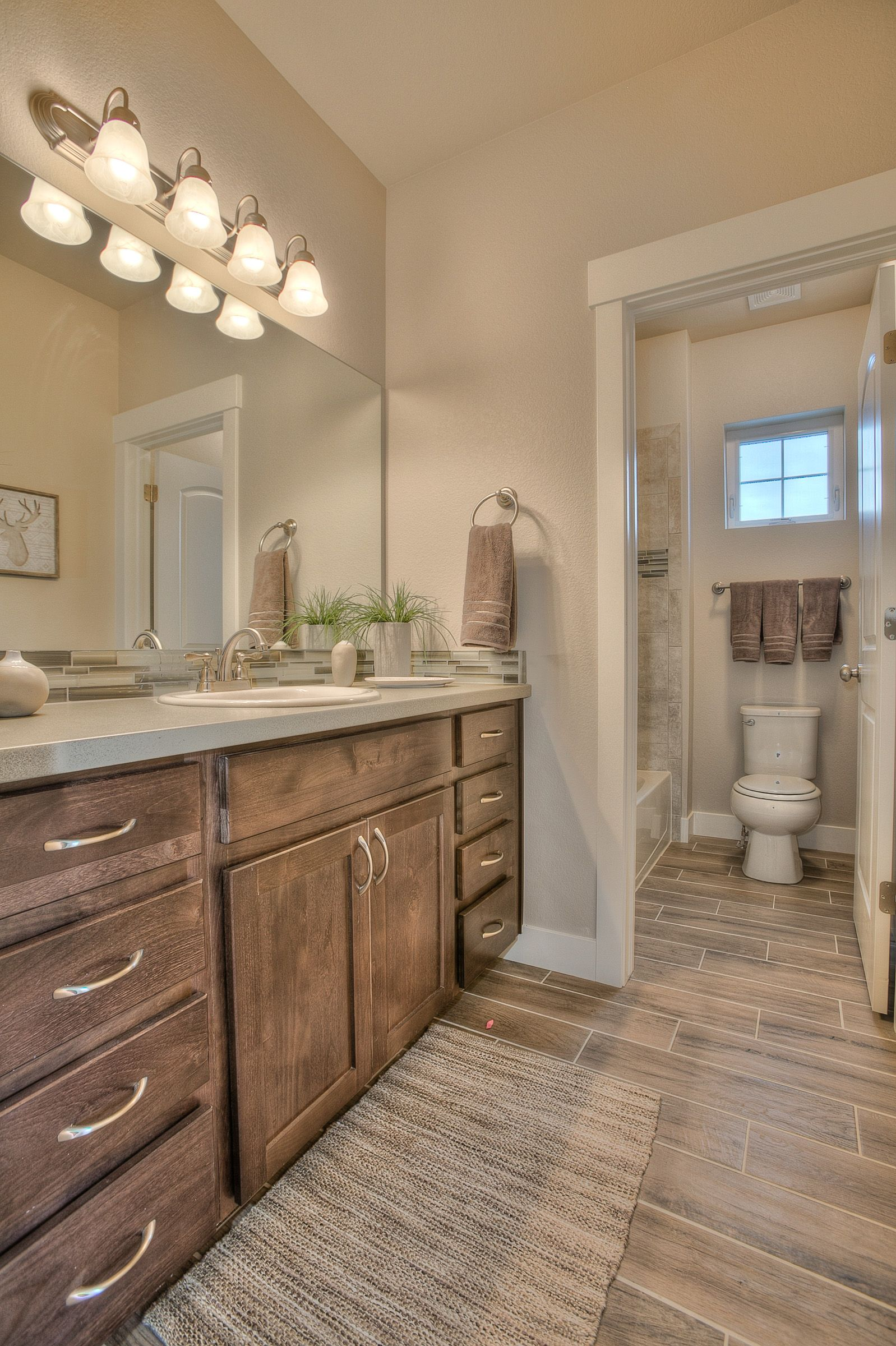 Master Bath 2nd Bath Norwood Oak Wood Plank Tile Floor Wood Plank Tile Oak Bathroom Vanity Plank Tile Flooring