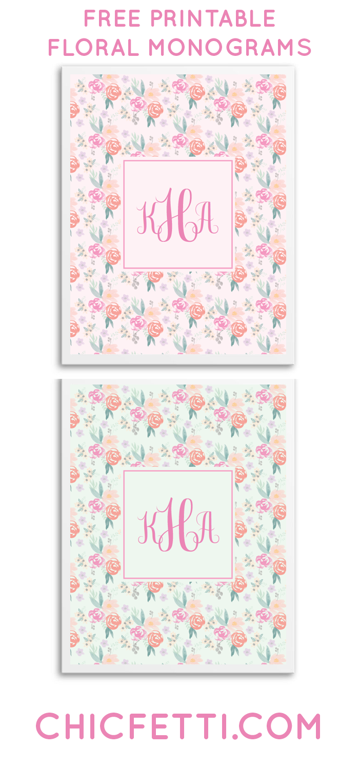 free printable floral monograms from chicfetti great for wall art or binder cover free