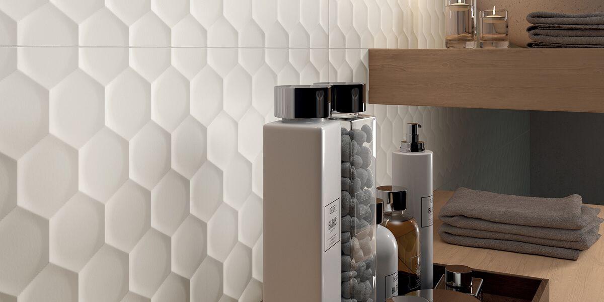 4d White Hexagon Ceramic Wall Tile Ceramic Wall Tiles Wall Tiles Porcelain Tile