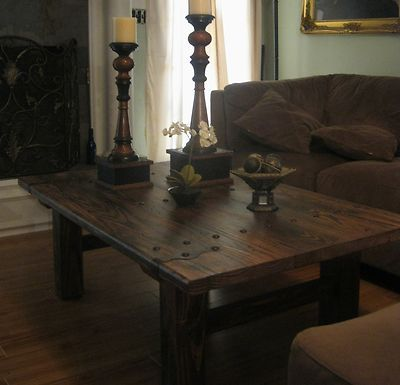 Delightful Rustic Very Heavy Door Style All Solid Wood Coffee Table   EBay 250 + Free  Ship