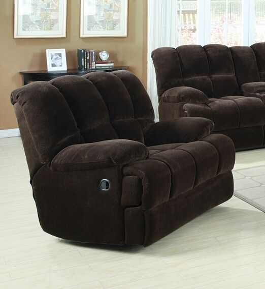 Ahearn Chocolate Champion Plush Fabric Upholstered Standard Motion