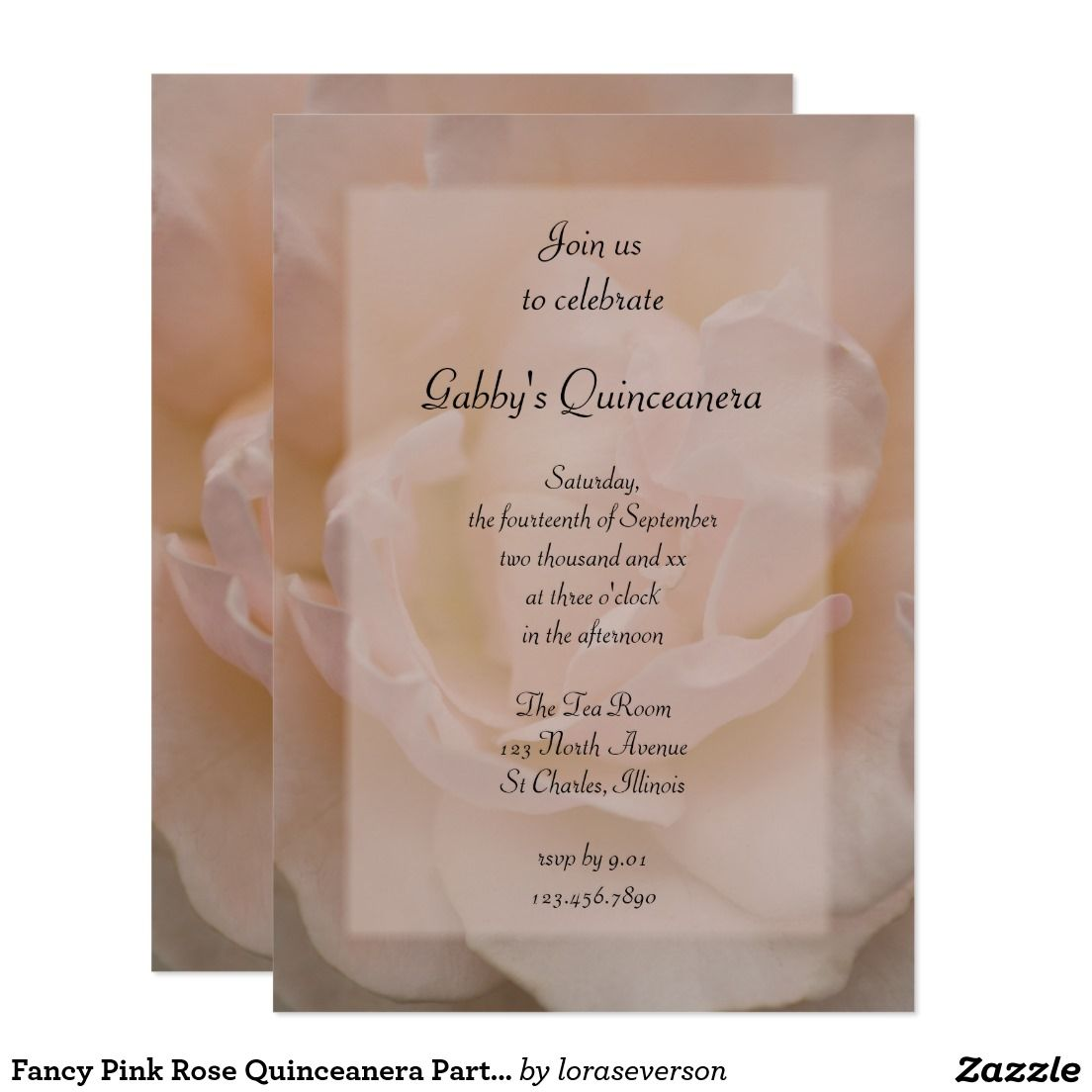 Fancy Pink Rose Quinceanera Party Invitation – Fancy Party Invitation