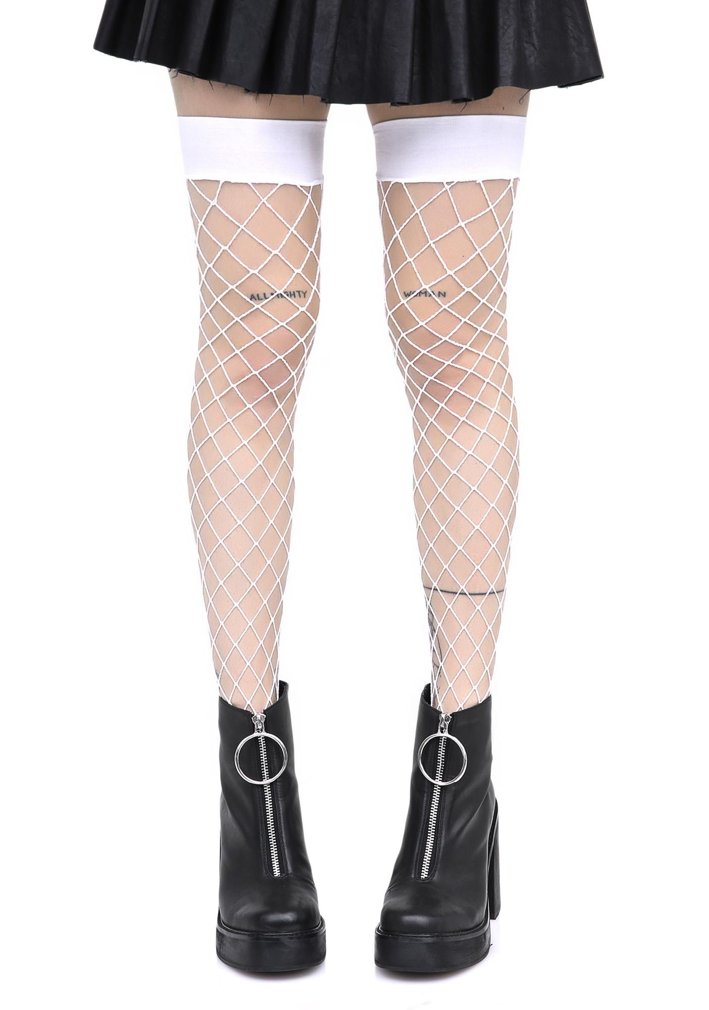 0f252240e47f8 Worship Me White Fence Net Thigh Highs long live the Queen, bb! They'll be  kneelin' at yer feet when you rock these sikk N' sexxxy thigh high  stockings ...