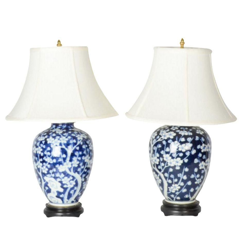 Blue and white chinoiserie lamps a pair chinoiserie and bedrooms blue and white chinoiserie lamps a pair arubaitofo Choice Image