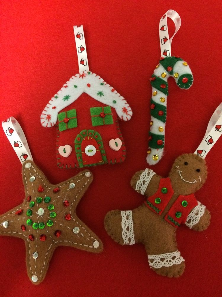 Pack Of 4 Felt Gingerbread Christmas Ornaments/tree Decorations