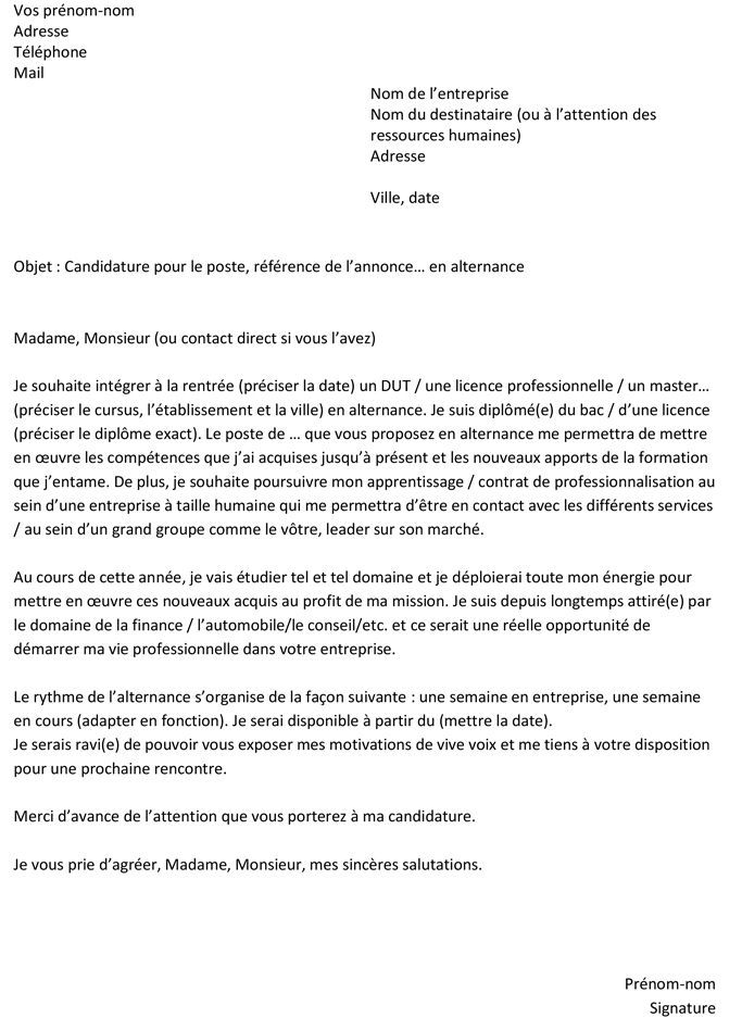 Lettre De Motivation Pour Une Alternance Un Exemple Gratuit Lettre De Motivation Alternance Lettre De Motivation Lettre De Motivation Stage