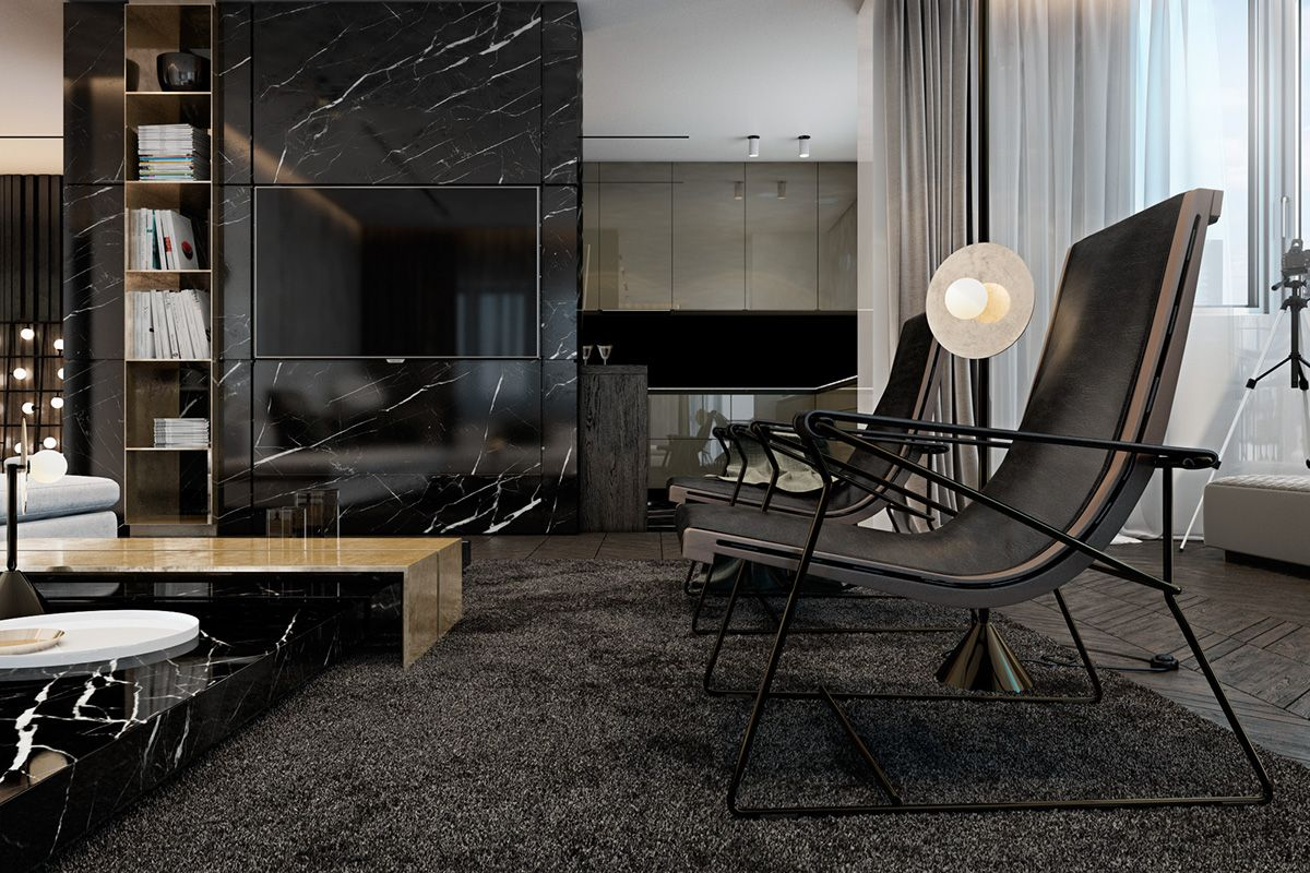 Luxury Living Room Design Ideas With Enticing Decor Inside: Three Luxurious Apartments With Dark Modern Interiors