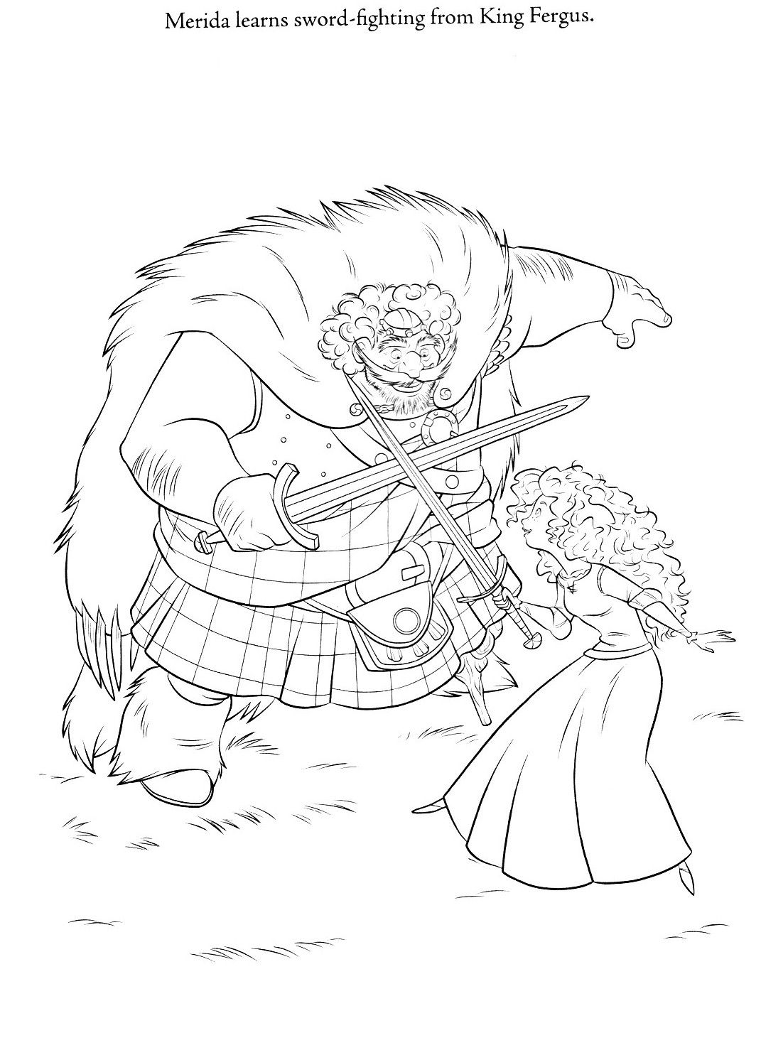 Coloring page of Merida and King Fergus (Brave). | Color Meridia ...