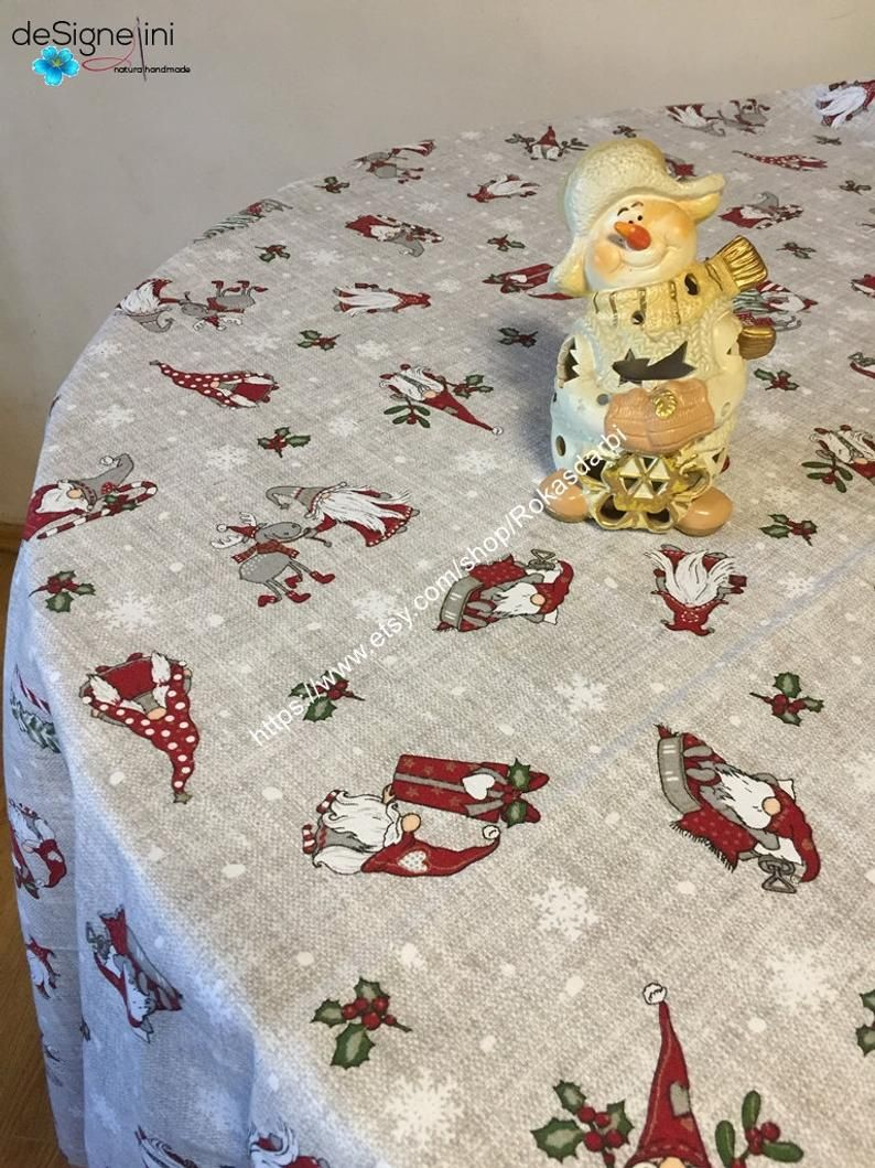 Christmas Tablecloth Round Square Oval Rectangle Cotton Grey