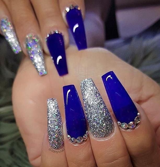 Long Blue Coffin Nail Designs You Will Want To Try Blue Coffin Nails With Glitter Blue Coff Blue Acrylic Nails Glitter Blue Acrylic Nails Glitter Nails Acrylic