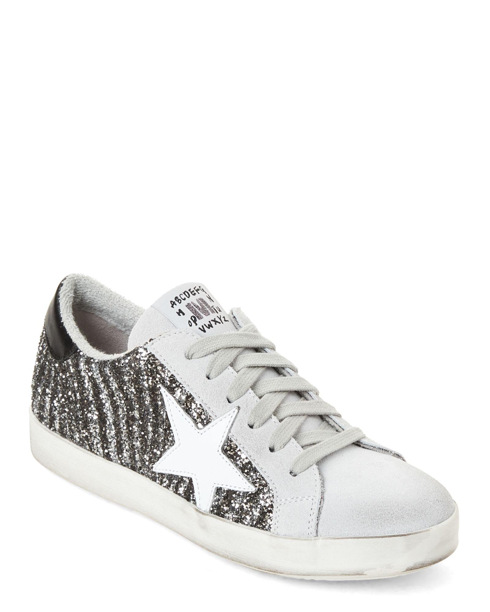 Silver & Grey Glitter Zebra Low Top Sneakers | Sneakers
