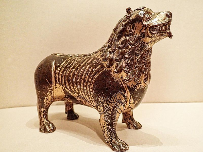 Medieval Aquamanile (vessel used to dispense water for ritual cleansing) in the form of a Lion North French or Mosan 1200 CE Bronze with traces of gilding | von mharrsch