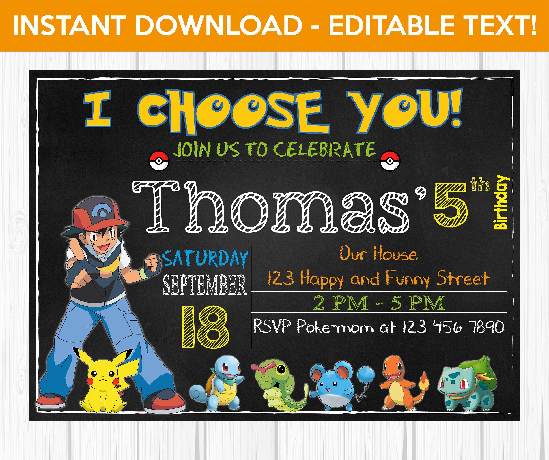 Editable Pokemon Invitation Birthday Go