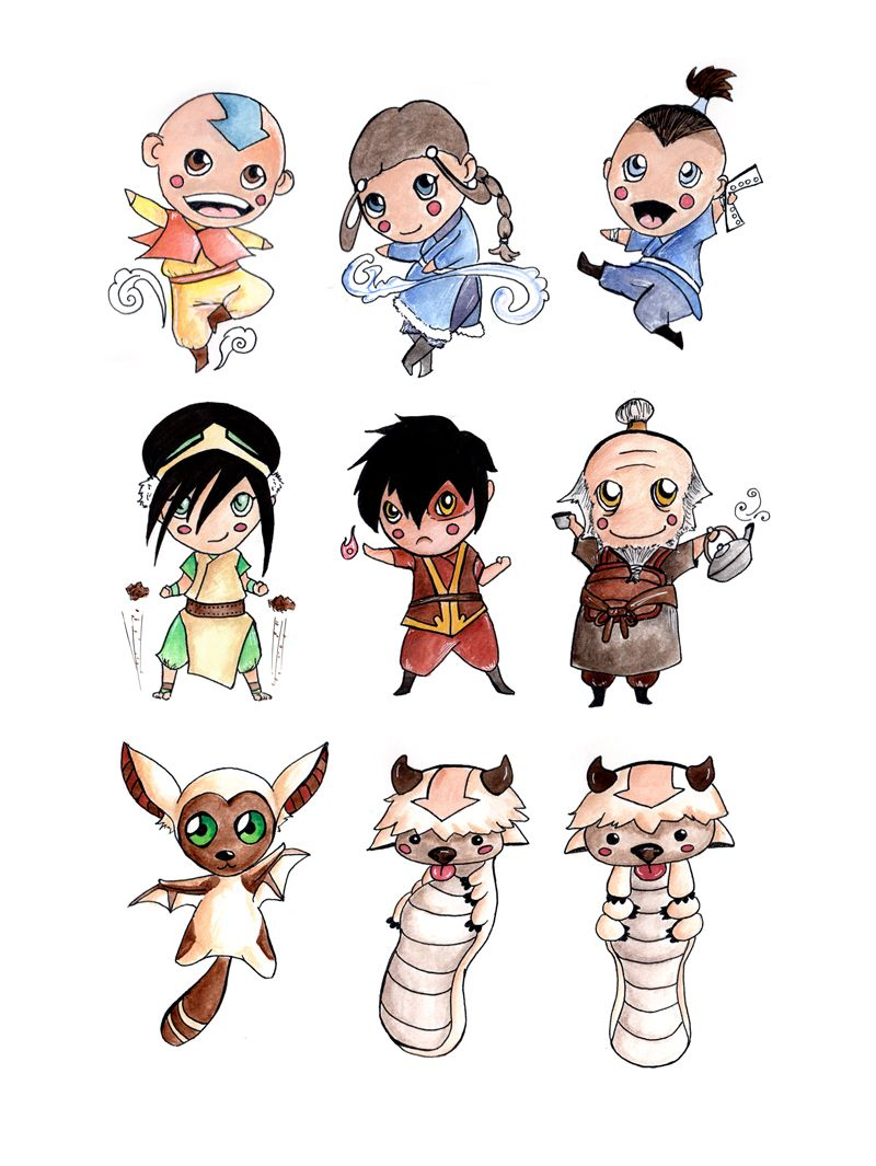 Chibi avatar the last airbender watercolor art fanart drawings of kawaii style characters iroh appa and aang are my favorites