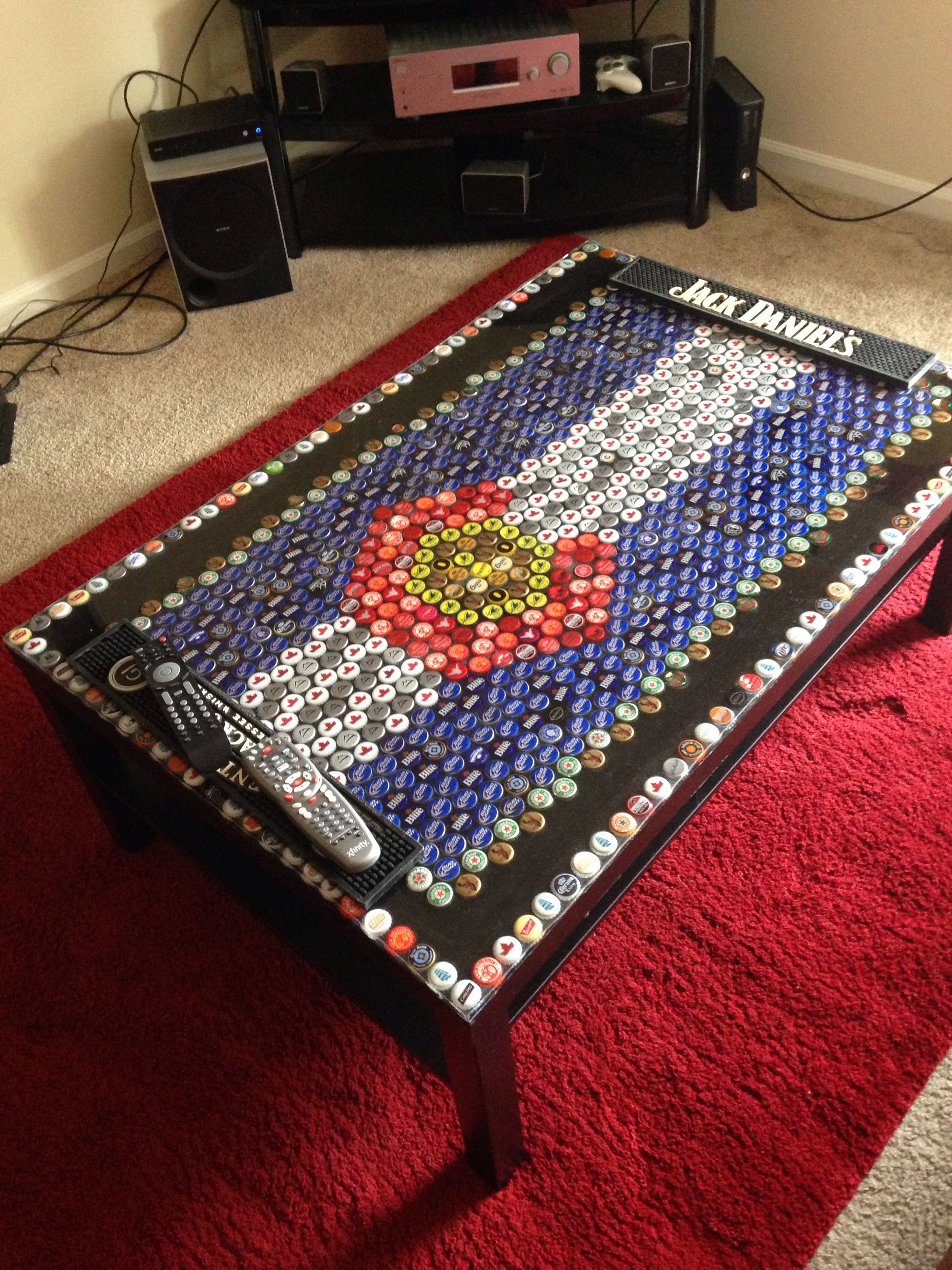 Hockey beer pong table - Homemade Colorado Flag Coffee Table Made Out Of Beer Bottle Caps