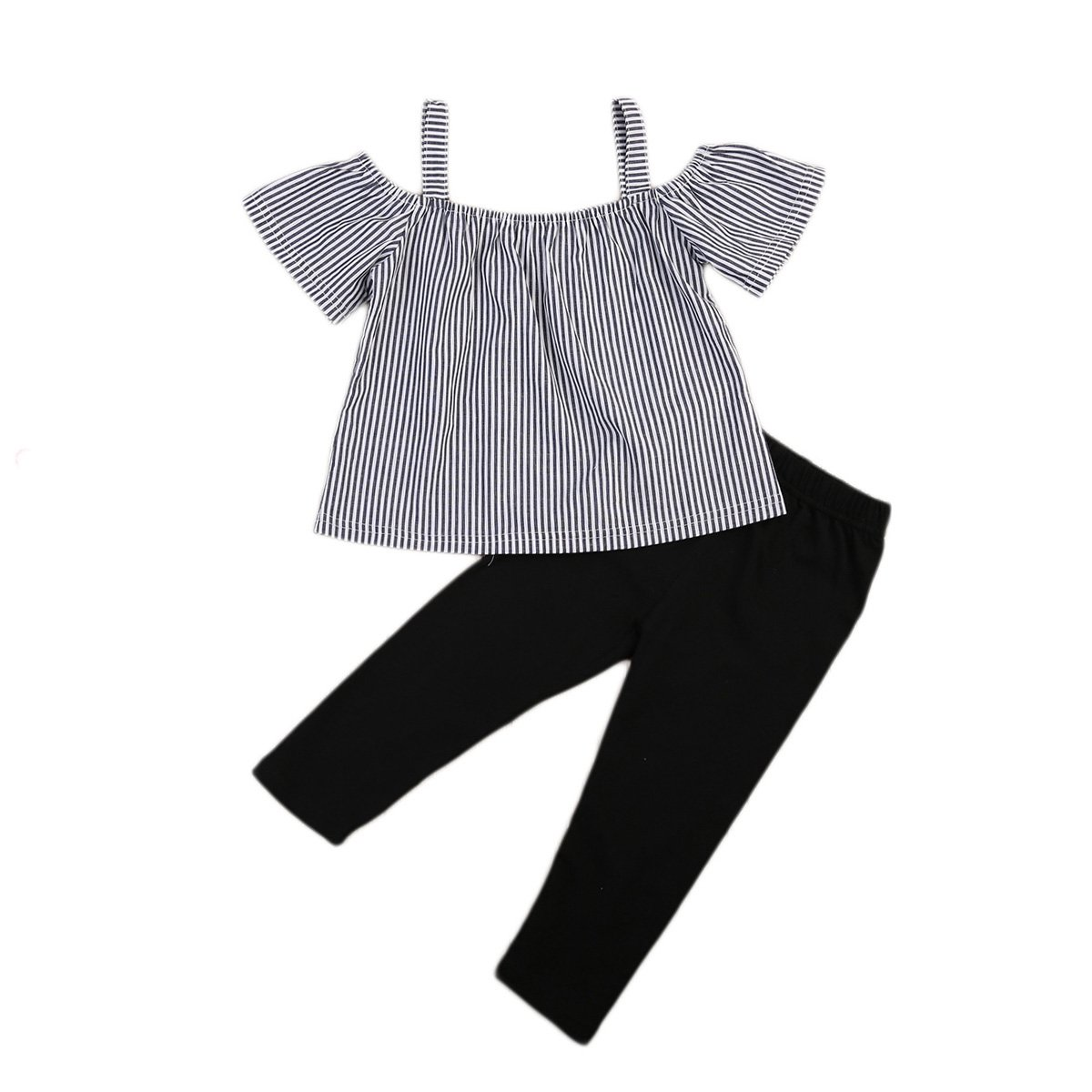 560d57140378e Kid Baby Girl Off Shoulder Tops T-Shirt Striped Print Black Pants Outfits  Kid Casual Clothing