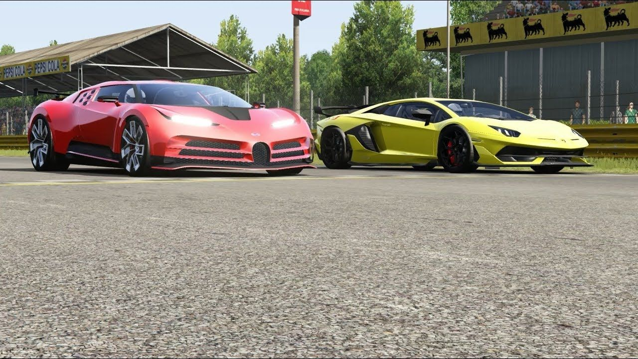 Bugatti Centodieci Vs Lamborghini Aventador Svj At Monza Full Course In 2020 Lamborghini Aventador Bugatti Lamborghini