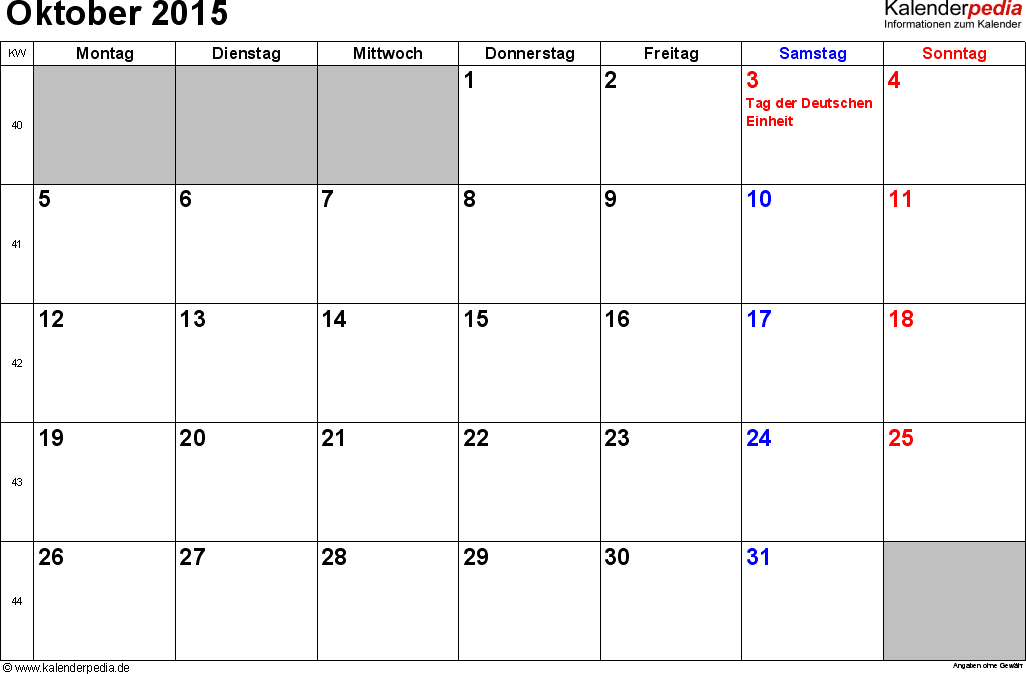 Kalender Oktober 2015 Als Excel Vorlagen Excel Vorlage Kalender Vorlagen