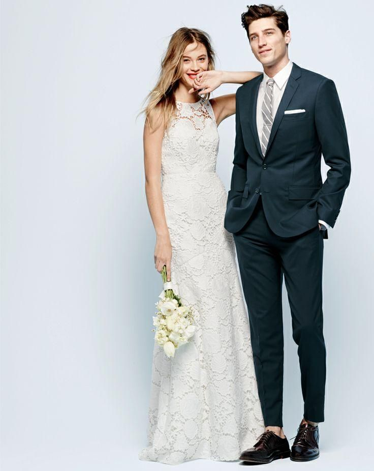 J.Crew Heloise gown & the perfect wedding suit. Classy not stuffy ...