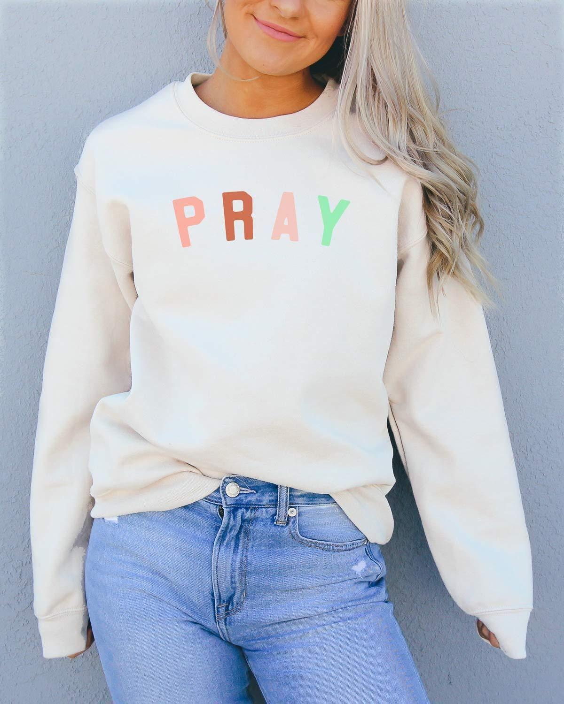 Pray Sweatshirt Last Chance In 2021 Cute Shirt Designs Christian Sweatshirt Sweatshirts [ 1500 x 1200 Pixel ]