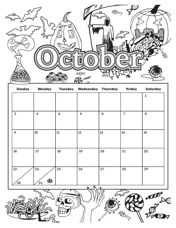 October Colorable Calendar Jpg 612 792 With Images Kids