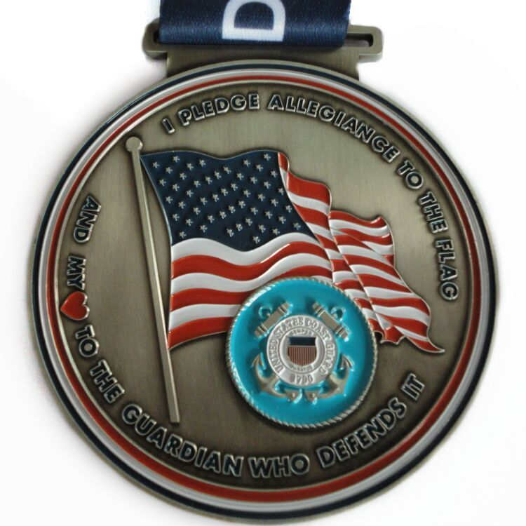 4inches custom medals,soft enamel with sublimated ribbon.