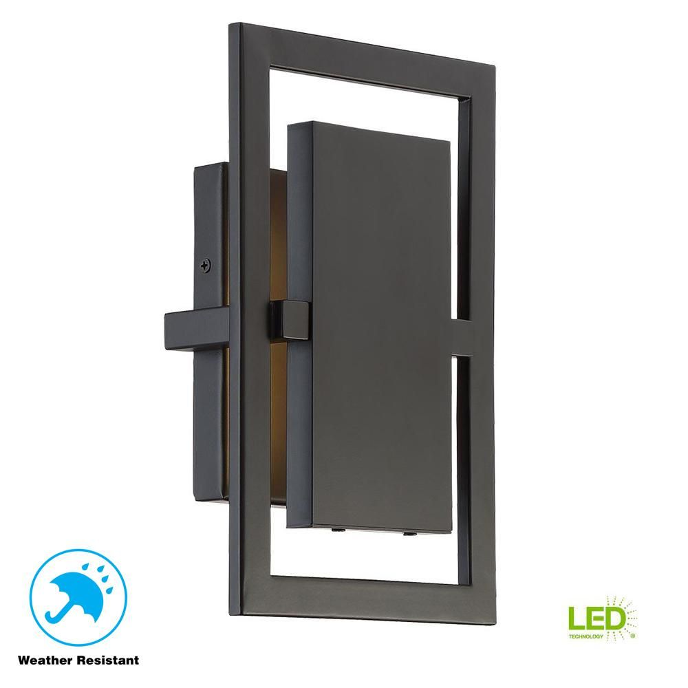 Home Decorators Collection Railford 1 Light Oil Rubbed Bronze Outdoor Integrated Led Wall Mount Wall Mount Lantern Outdoor Wall Mounted Lighting Outdoor Walls