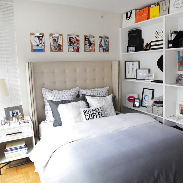 Grey ombre bedding + a shelf wall perfect for a small apartment ...