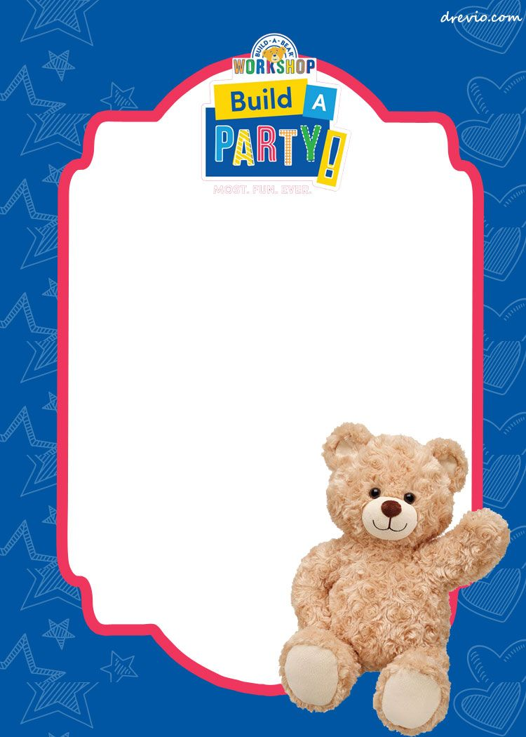 FREE Build-a-Bear Birthday Invitation Template | Birthday invitation ...