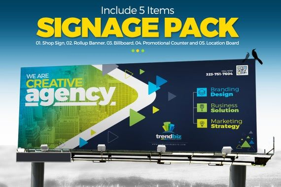 Digital Signage : Billboard, Rollup Banner, Shop Sign, Promotional Counter and Location Board | Digital File | Instant Download