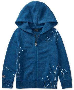 Ralph Lauren Splatter Full-Zip Fleece Hoodie, Toddler & Little Girls (2T-6X) - Indigo 2/2T
