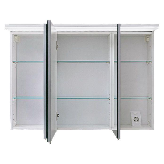 Riva Led Spiegelschrank Matrix Breite 100 Cm Mit Beleuchtung Spanplatte Weiss Spiegelschrank Schrank Led