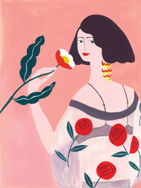 Flower lady by Nynke Locher on Artfully Walls