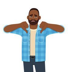 Frustrated young African man showing thumbs down sign  Trendy sad black person making dislike gesture  Male character design illustration  Human emotions   body language concept in vector cartoon    Buy this stock vector and explore similar vectors at Adobe Stock Frustrated young African man showing thumbs down sign  Trendy sad black person making dislike gesture  Male character design illustration  Human emotions   body language concept in vector cartoon     SPONSORED   sad   Trendy   sign You