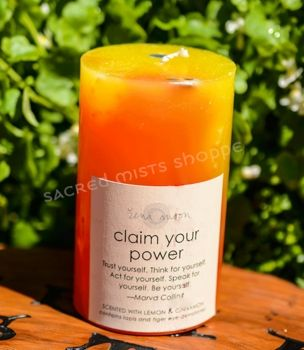 Claim Your Power - Gemstone Pillar Candle - pagan wiccan witchcraft magick ritual supplies