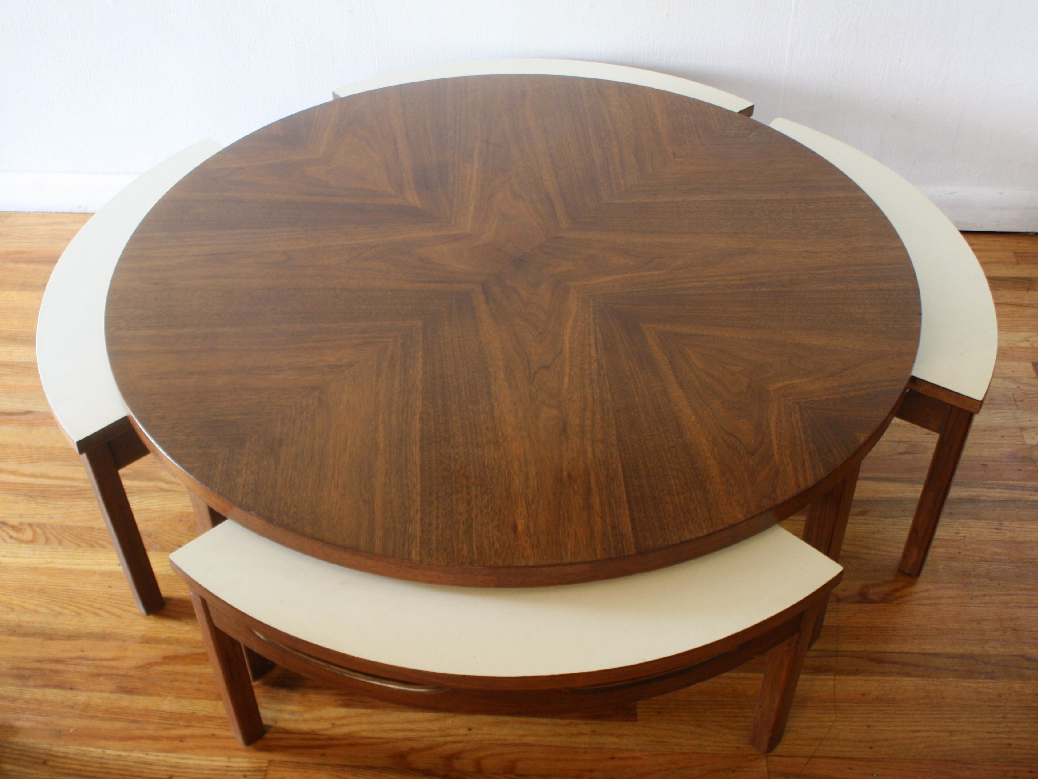 Mid Century Modern Game Coffee Table With Hidden Chairs Coffee