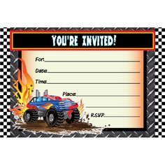 Monster Truck Invitations Printable Free