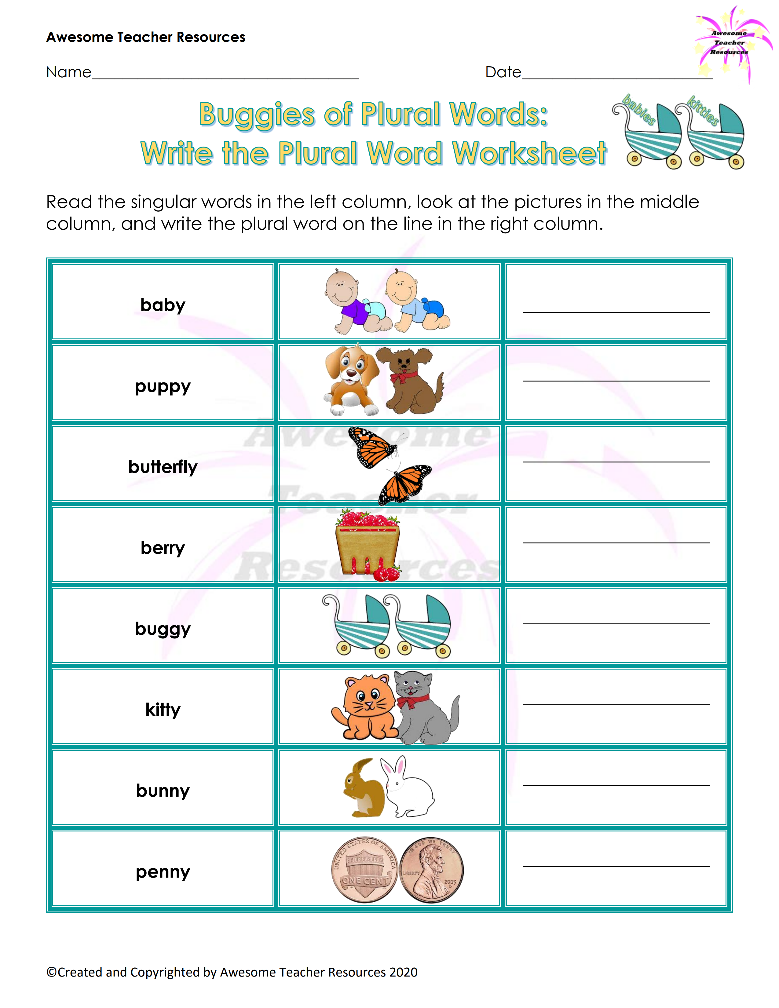 Buggies Of Plural Words Write The Plural Worksheet