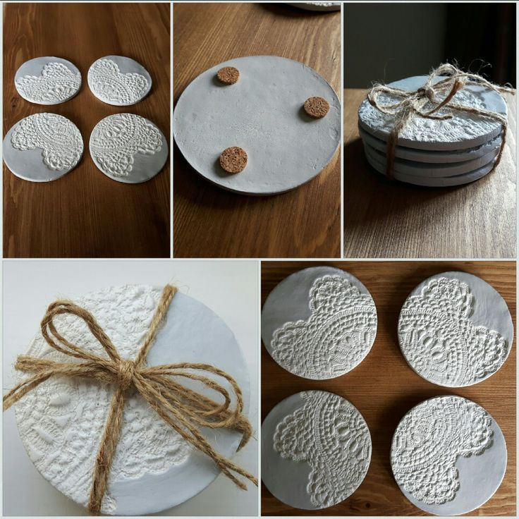 Doily print coasters Air dry clay coasters etsy.me/2Kdrd0Q