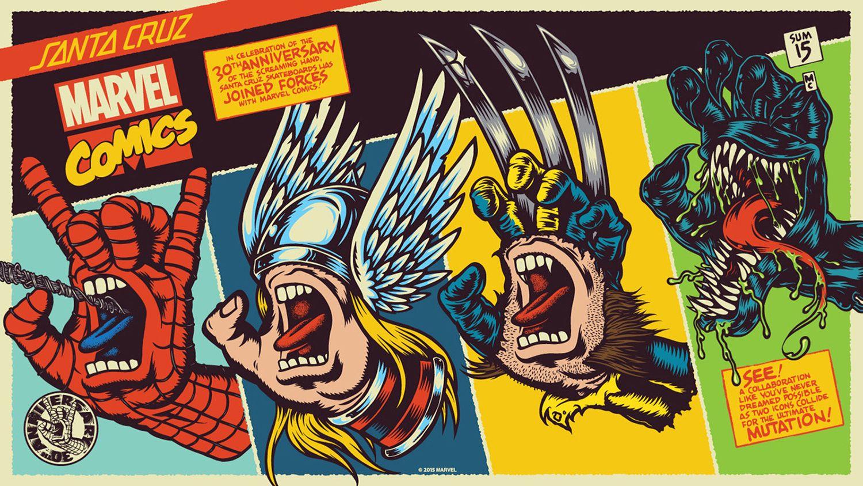 SantaCruz & #MarvelComics #ScreamingHand mash-ups #Spiderman #Thor ...